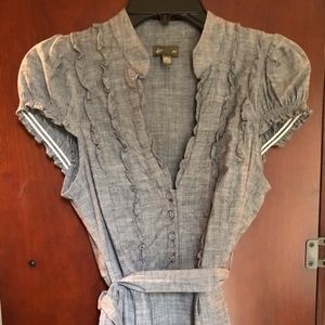 Anthropologie Linen Belted Top by Fei